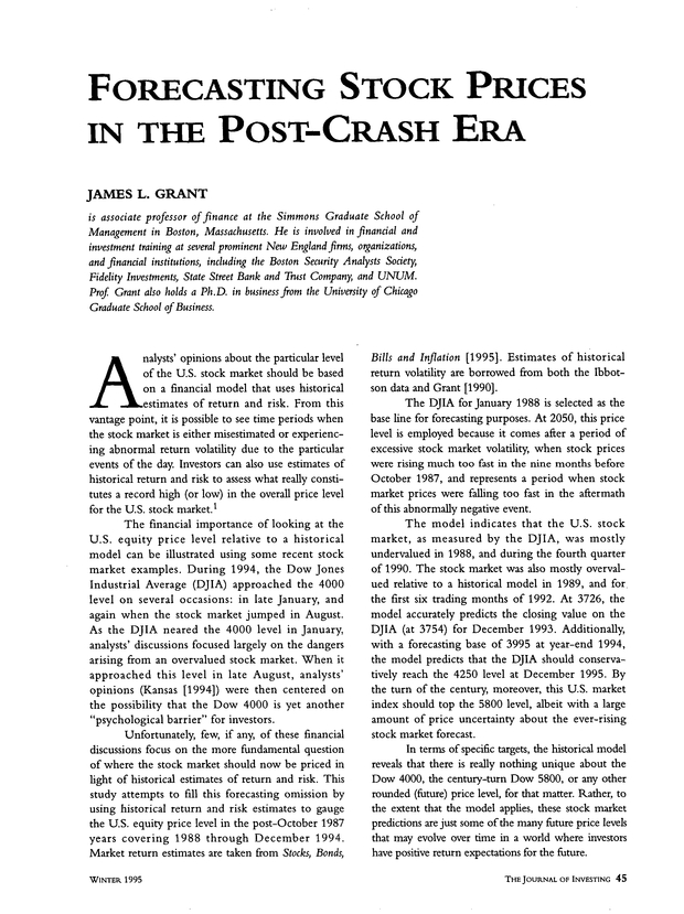 Forecasting Stock Prices in the Post-Crash Era | The Journal
