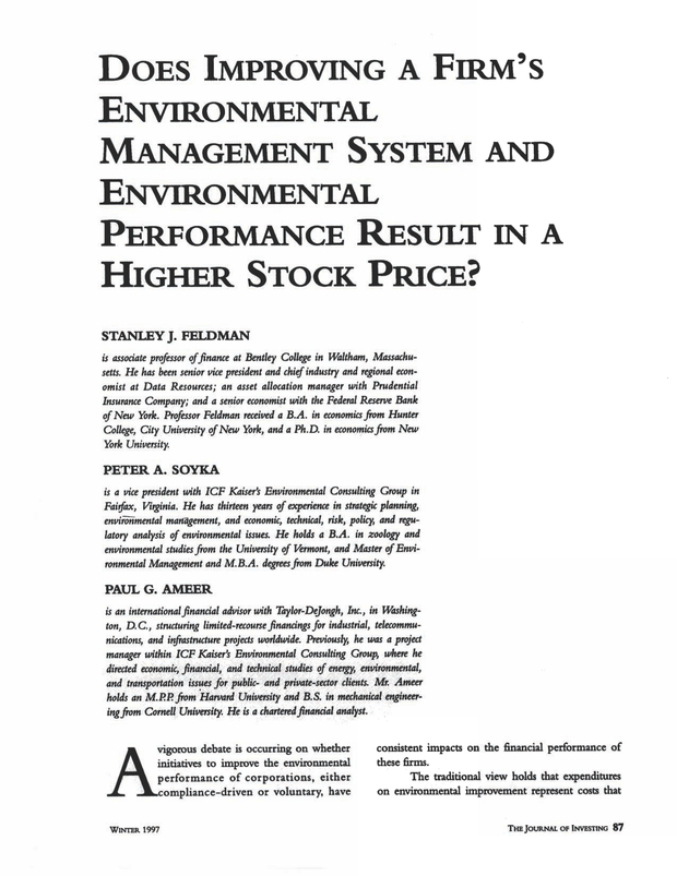 Does Improving a Firm's Environmental Management System and