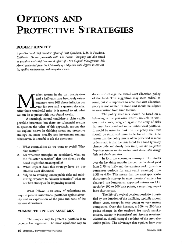 Options and Protective Strategies | The Journal of Investing